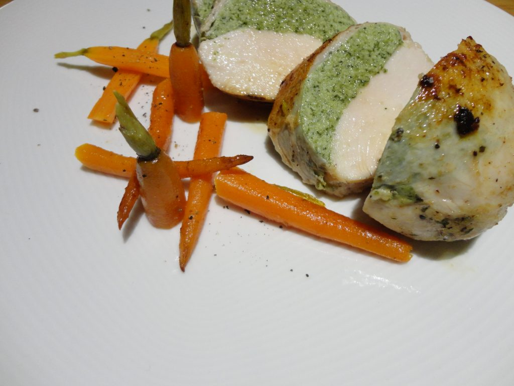 Chicken with spinach mousse