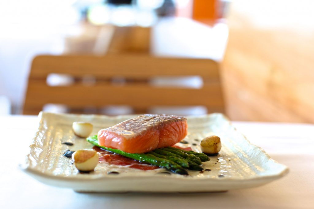 Poached Atlantic Salmon Dish
