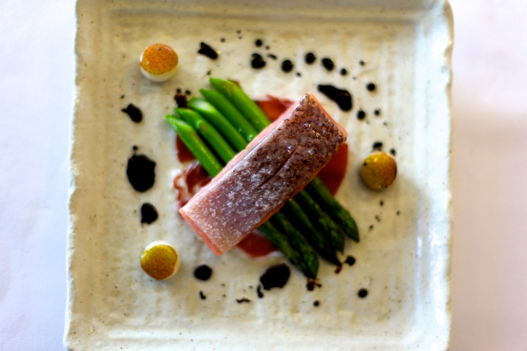 Poached Atlantic Salmon with Iberico Jamon, Asparagus and Coffee Oil