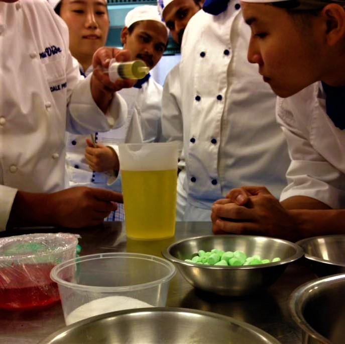 Agar pearls with Le Cordon Bleu students molecular cooking school The Upper Room