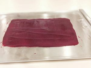Sous vide beetroot leather read to dehydrate