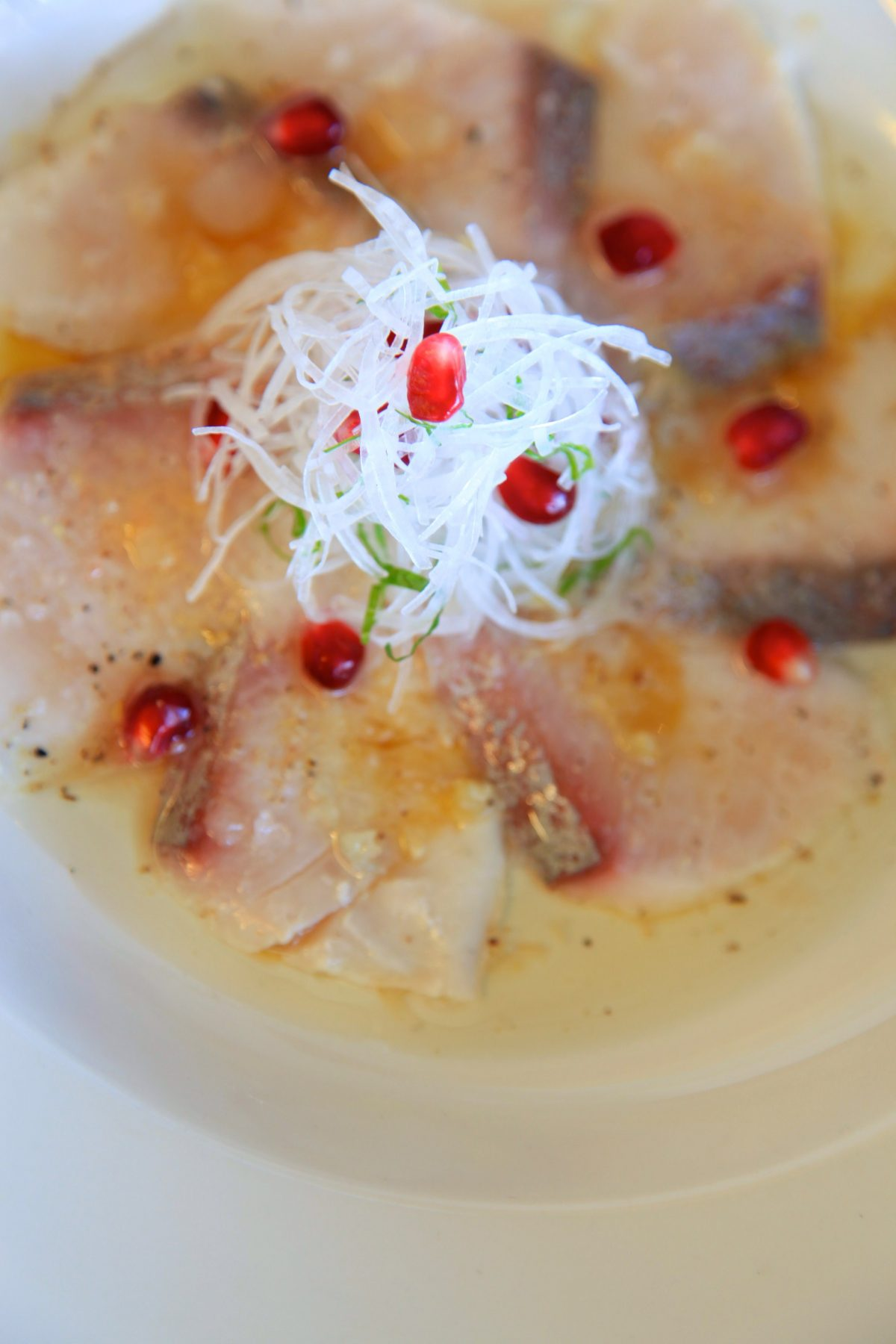 Hiramasa Kingfish with Fresh Ginger and Pomegranate Salad